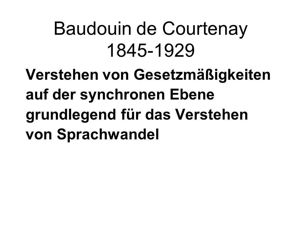 Baudouin de Courtenay 1845-1929 Verstehen von Gesetzmäßigkeiten auf der synchronen Ebene grundlegend für das Verstehen von Sprachwandel