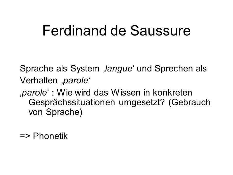"""Ferdinand de Saussure Unterschieden wird zwischen: """"Lautbildern ('images acoustiques'), zeitlose, perzeptuelle Archetypen) => langue Lauten (""""phonèmes ) spezifische, physische, artikulatorische Manifestationen => parole"""