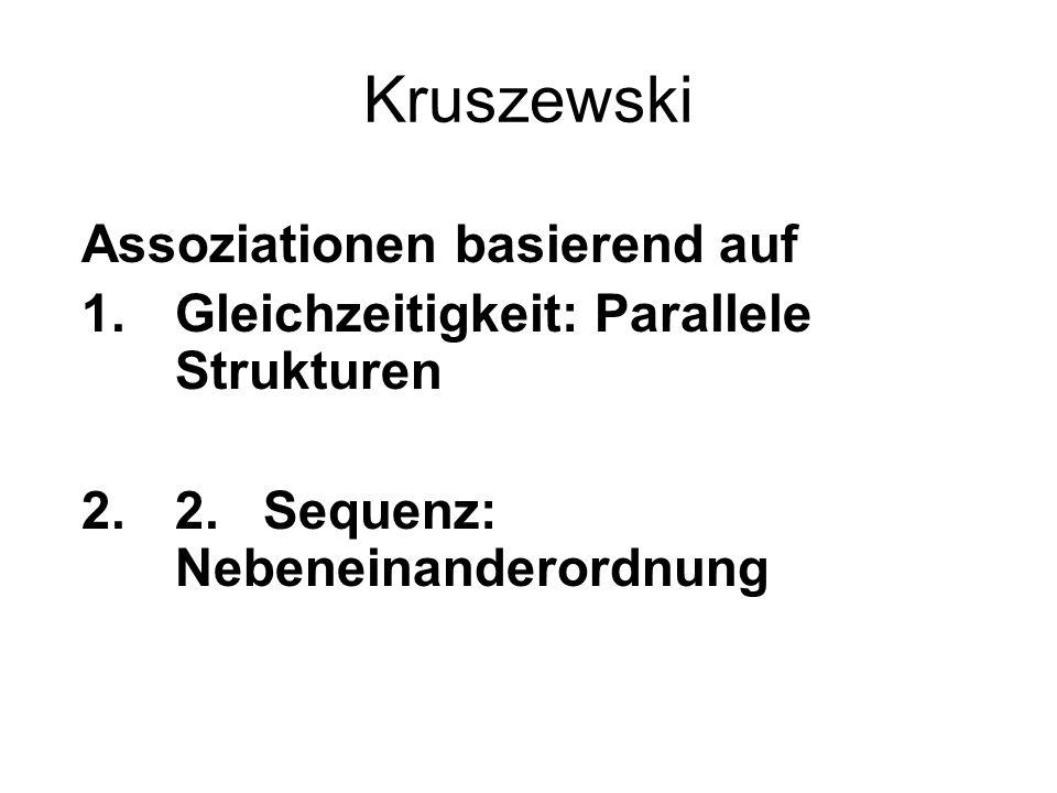 Kruszewski Assoziationen basierend auf 1.Gleichzeitigkeit: Parallele Strukturen 2.2. Sequenz: Nebeneinanderordnung