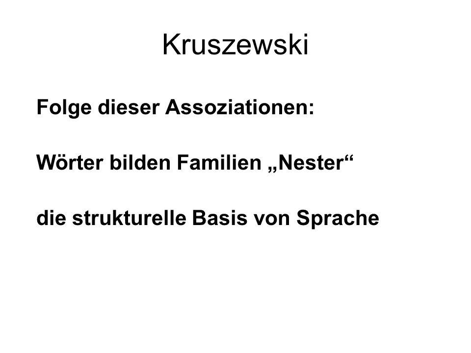 """Kruszewski Folge dieser Assoziationen: Wörter bilden Familien """"Nester"""" die strukturelle Basis von Sprache"""