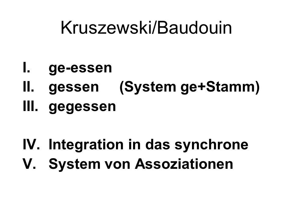 Kruszewski/Baudouin I.ge-essen II.gessen (System ge+Stamm) III.gegessen IV.Integration in das synchrone V.System von Assoziationen