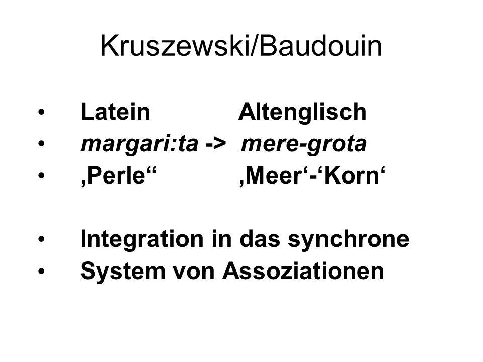 """Kruszewski/Baudouin Latein Altenglisch margari:ta -> mere-grota 'Perle"""" 'Meer'-'Korn' Integration in das synchrone System von Assoziationen"""