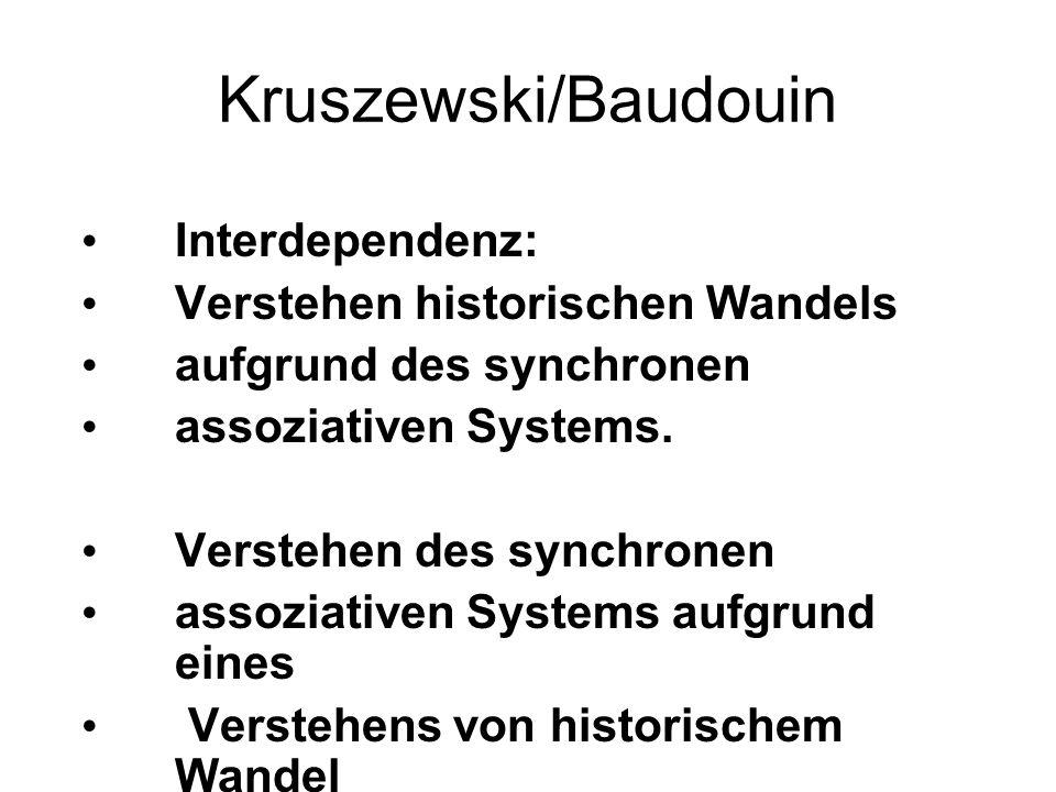 Kruszewski/Baudouin Interdependenz: Verstehen historischen Wandels aufgrund des synchronen assoziativen Systems. Verstehen des synchronen assoziativen