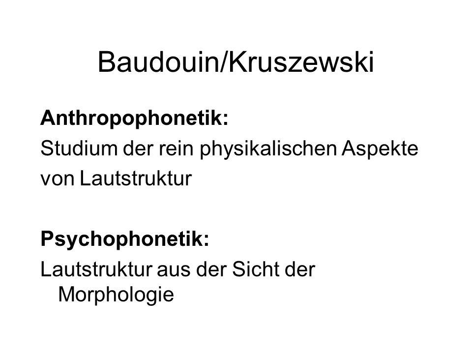 Baudouin/Kruszewski Anthropophonetik: Studium der rein physikalischen Aspekte von Lautstruktur Psychophonetik: Lautstruktur aus der Sicht der Morpholo