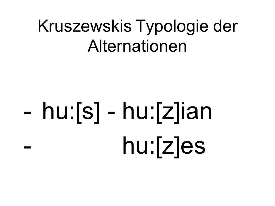 Kruszewskis Typologie der Alternationen -hu:[s] - hu:[z]ian - hu:[z]es
