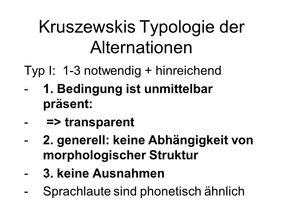 Kruszewskis Typologie der Alternationen Typ I: 1-3 notwendig + hinreichend -1. Bedingung ist unmittelbar präsent: - => transparent -2. generell: keine