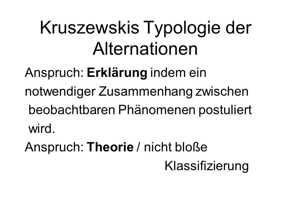 Kruszewskis Typologie der Alternationen Anspruch: Erklärung indem ein notwendiger Zusammenhang zwischen beobachtbaren Phänomenen postuliert wird. Ansp