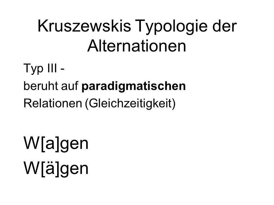 Kruszewskis Typologie der Alternationen Typ III - beruht auf paradigmatischen Relationen (Gleichzeitigkeit) W[a]gen W[ä]gen