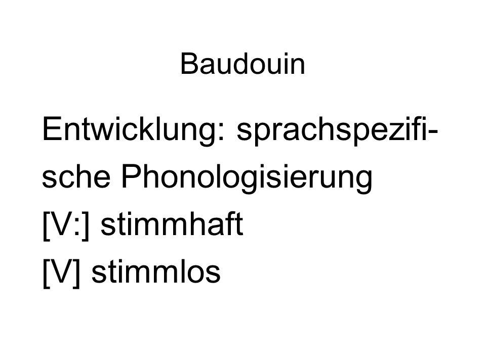 Baudouin Entwicklung: sprachspezifi- sche Phonologisierung [V:] stimmhaft [V] stimmlos