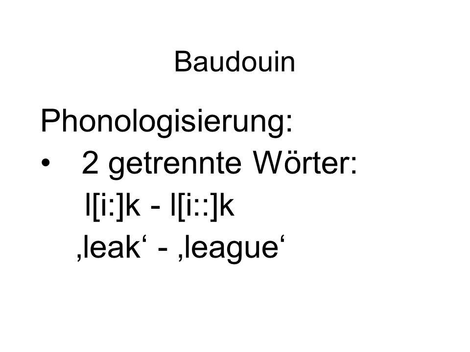 Baudouin Phonologisierung: 2 getrennte Wörter: l[i:]k - l[i::]k 'leak' - 'league'