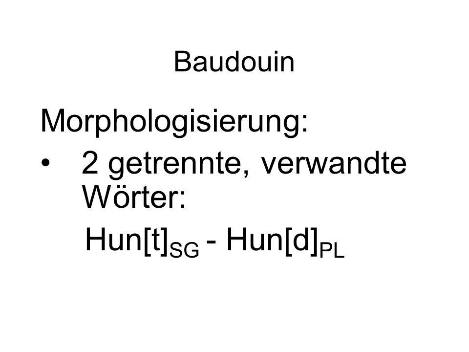 Baudouin Morphologisierung: 2 getrennte, verwandte Wörter: Hun[t] SG - Hun[d] PL