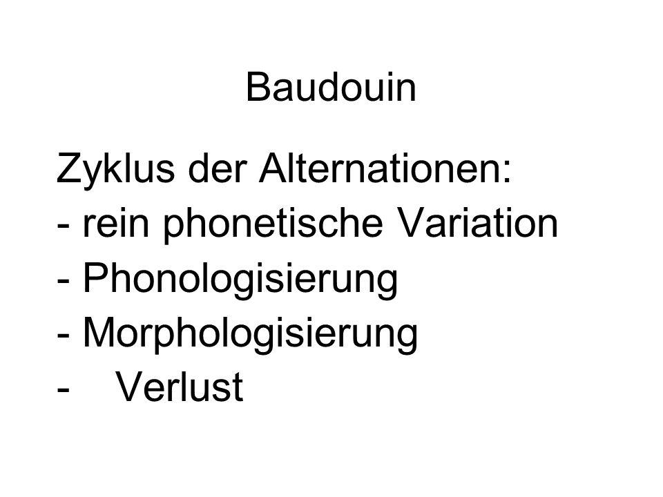 Baudouin Zyklus der Alternationen: - rein phonetische Variation - Phonologisierung - Morphologisierung -Verlust