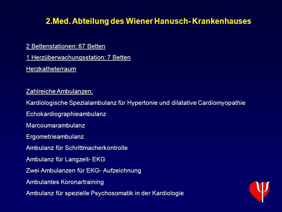 2.Med. Abteilung des Wiener Hanusch- Krankenhauses 2 Bettenstationen: 67 Betten 1 Herzüberwachungsstation: 7 Betten Herzkatheterraum Zahlreiche Ambula