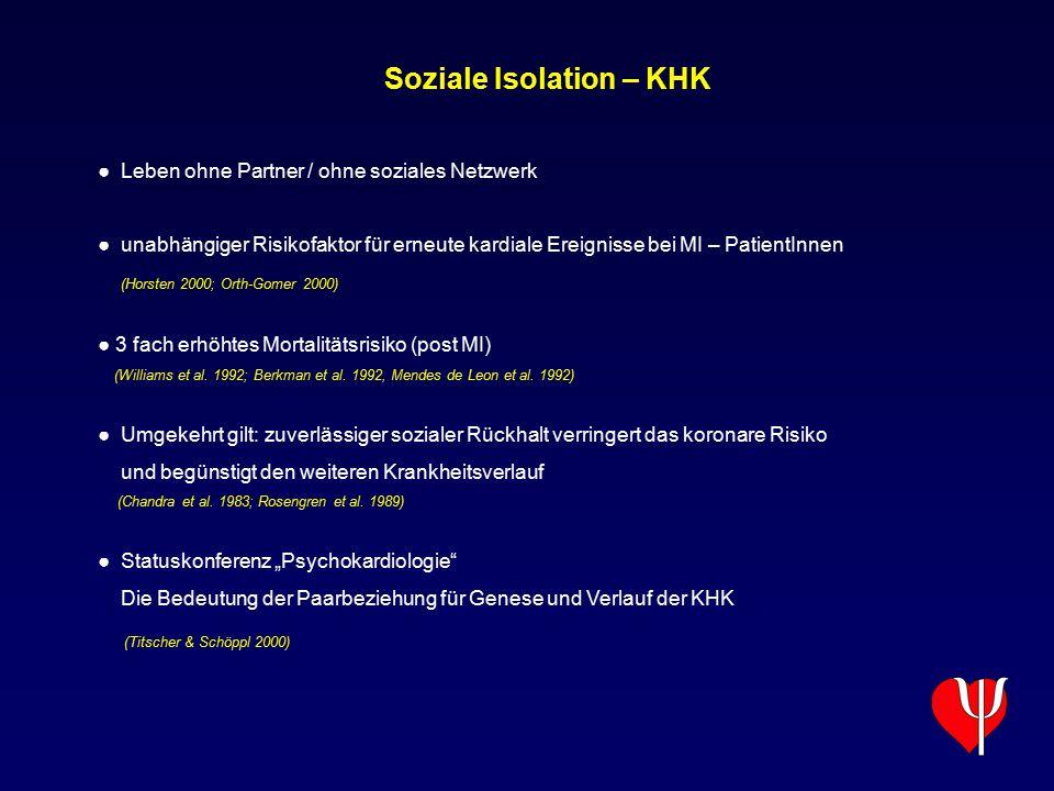 Soziale Isolation – KHK ● Leben ohne Partner / ohne soziales Netzwerk ● unabhängiger Risikofaktor für erneute kardiale Ereignisse bei MI – PatientInne