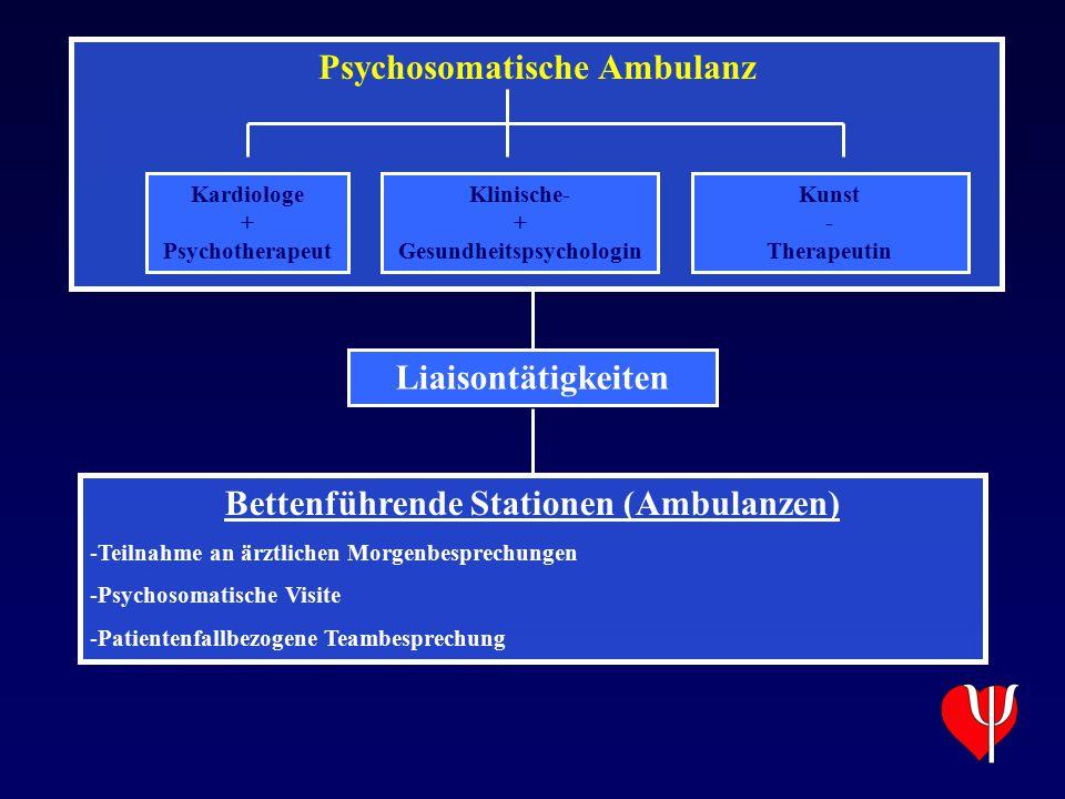 Psychosomatische Ambulanz Kardiologe + Psychotherapeut Klinische- + Gesundheitspsychologin Kunst - Therapeutin Liaisontätigkeiten Bettenführende Stati