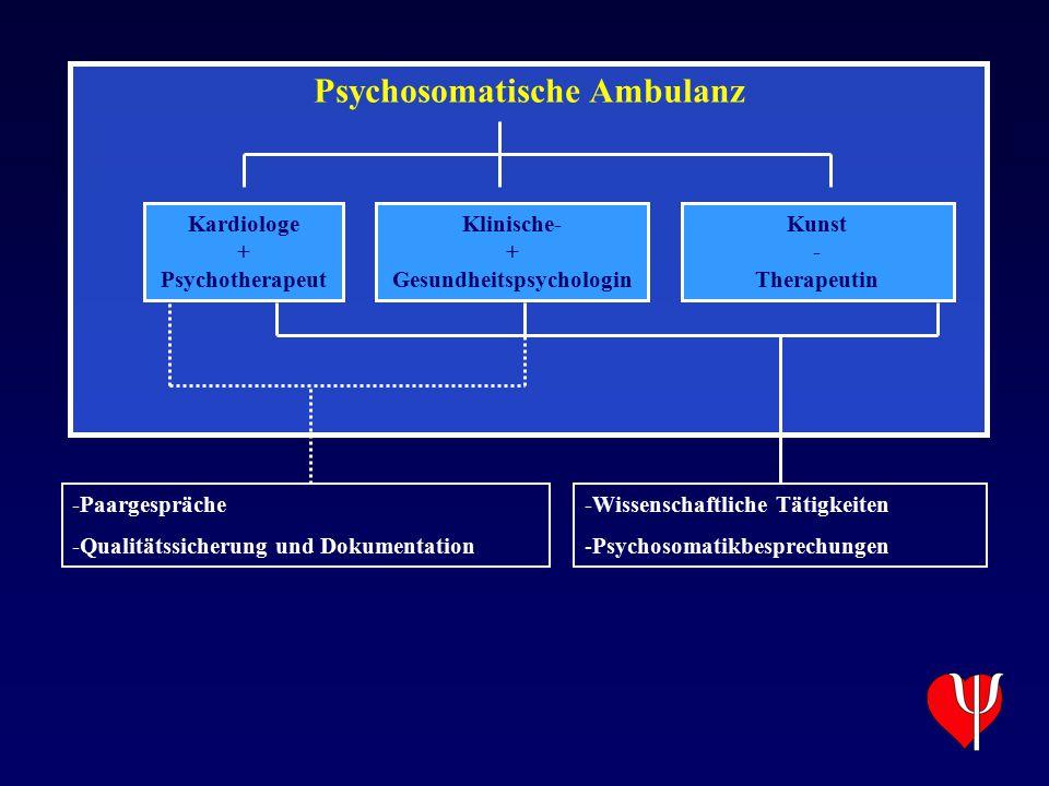 Psychosomatische Ambulanz Kardiologe + Psychotherapeut Klinische- + Gesundheitspsychologin Kunst - Therapeutin -Paargespräche -Qualitätssicherung und