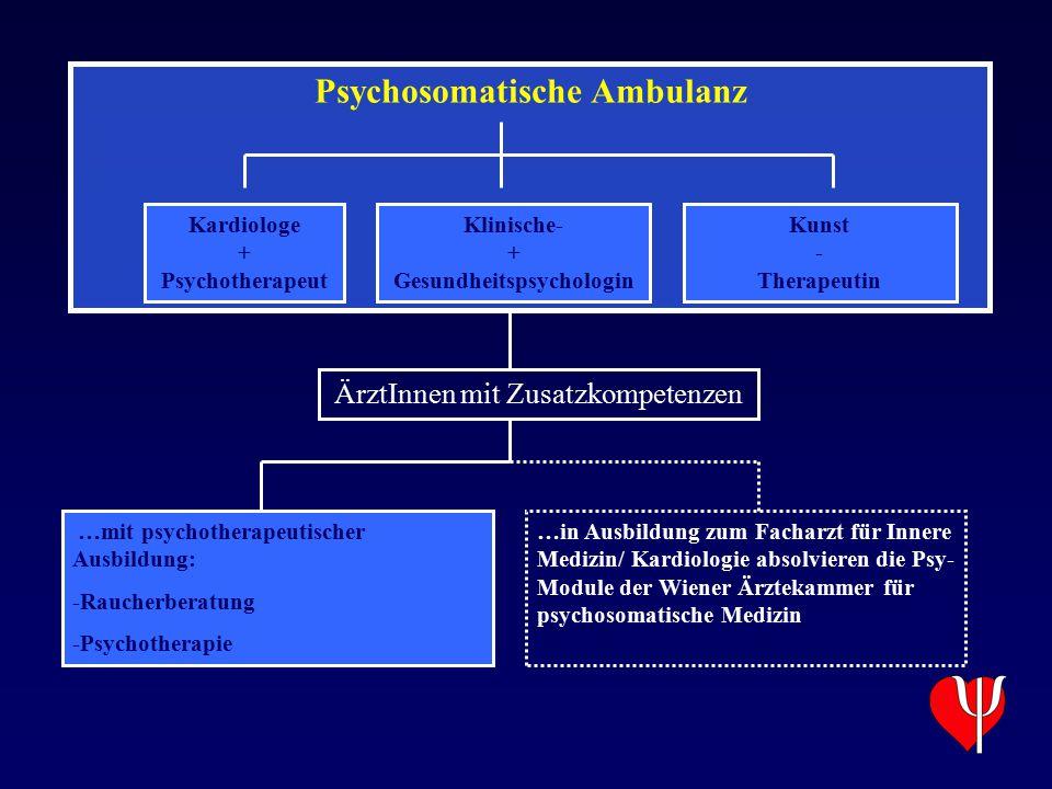 Psychosomatische Ambulanz Kardiologe + Psychotherapeut Klinische- + Gesundheitspsychologin Kunst - Therapeutin …mit psychotherapeutischer Ausbildung: