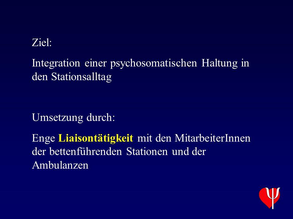 Ziel: Integration einer psychosomatischen Haltung in den Stationsalltag Umsetzung durch: Enge Liaisontätigkeit mit den MitarbeiterInnen der bettenführ