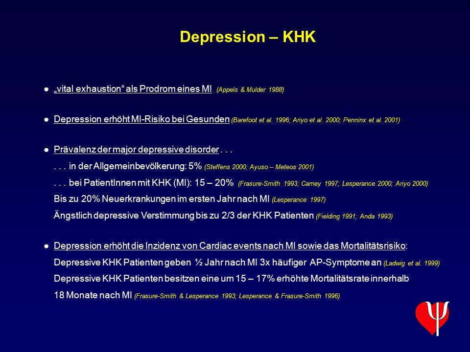 """Depression – KHK ● """"vital exhaustion"""" als Prodrom eines MI (Appels & Mulder 1988) ● Depression erhöht MI-Risiko bei Gesunden (Barefoot et al. 1996; Ar"""