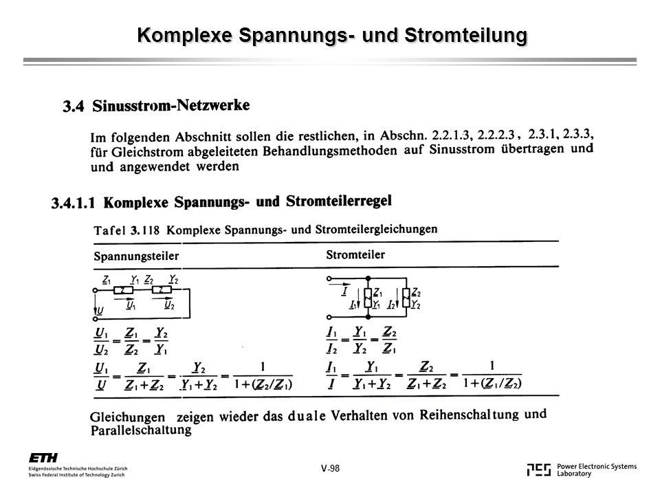 Komplexe Spannungs- und Stromteilung V-98