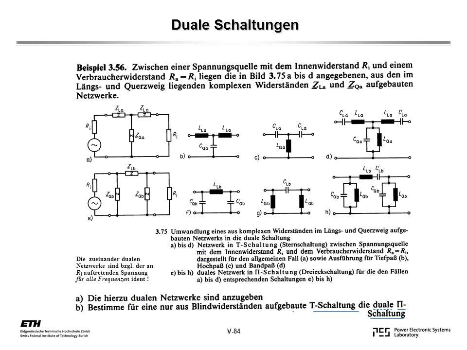 Duale Schaltungen V-84 Die zueinander dualen Netzwerke sind bzgl. der an R i auftretenden Spannung für alle Frequenzen ident !