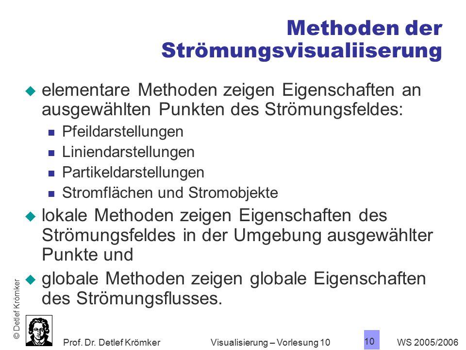 Prof. Dr. Detlef Krömker WS 2005/2006 10 Visualisierung – Vorlesung 10 Methoden der Strömungsvisualiiserung  elementare Methoden zeigen Eigenschaften