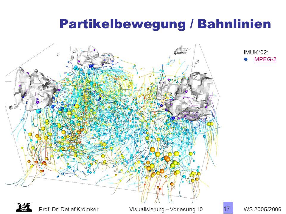 Prof. Dr. Detlef Krömker WS 2005/2006 17 Visualisierung – Vorlesung 10 Partikelbewegung / Bahnlinien IMUK '02: MPEG-2