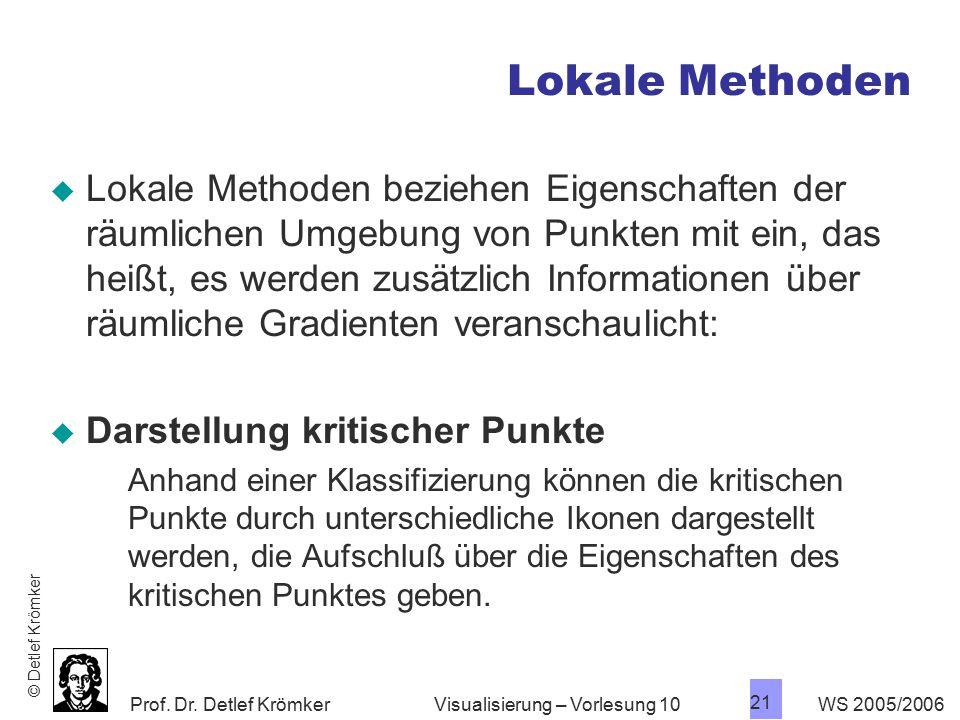 Prof. Dr. Detlef Krömker WS 2005/2006 21 Visualisierung – Vorlesung 10 Lokale Methoden  Lokale Methoden beziehen Eigenschaften der räumlichen Umgebun