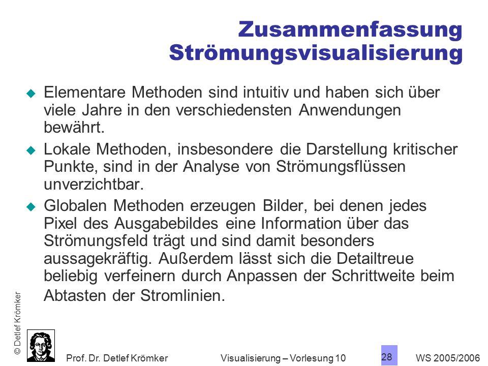 Prof. Dr. Detlef Krömker WS 2005/2006 28 Visualisierung – Vorlesung 10 Zusammenfassung Strömungsvisualisierung  Elementare Methoden sind intuitiv und