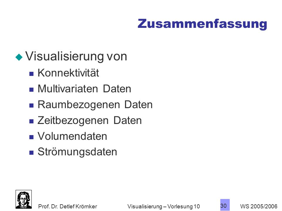 Prof. Dr. Detlef Krömker WS 2005/2006 30 Visualisierung – Vorlesung 10 Zusammenfassung  Visualisierung von Konnektivität Multivariaten Daten Raumbezo