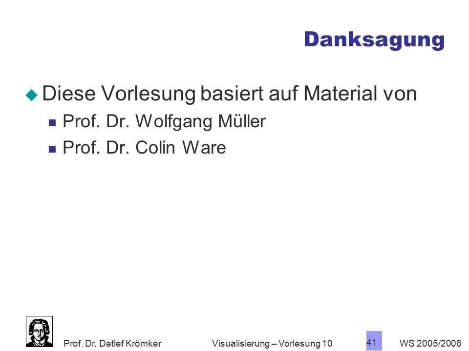 Prof. Dr. Detlef Krömker WS 2005/2006 41 Visualisierung – Vorlesung 10 Danksagung  Diese Vorlesung basiert auf Material von Prof. Dr. Wolfgang Müller