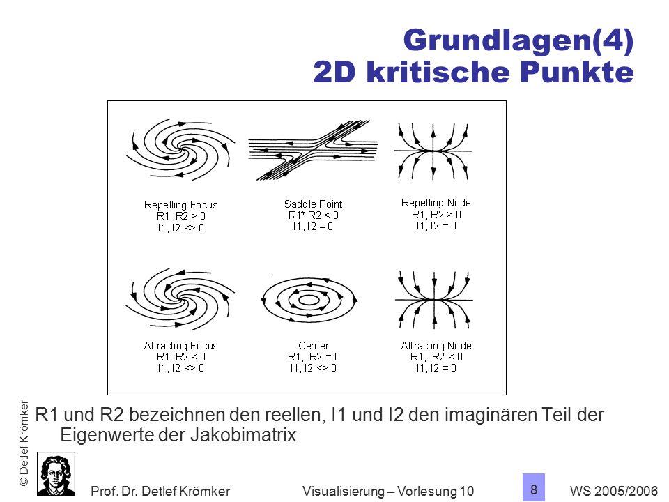 Prof. Dr. Detlef Krömker WS 2005/2006 8 Visualisierung – Vorlesung 10 Grundlagen(4) 2D kritische Punkte R1 und R2 bezeichnen den reellen, I1 und I2 de