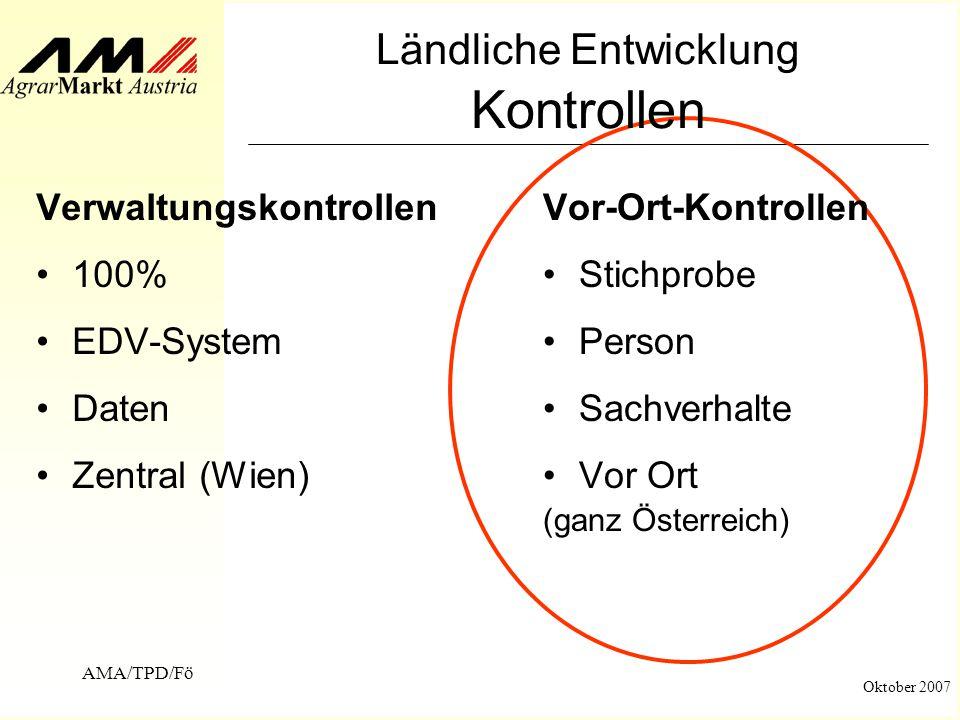 AMA/TPD/Fö Oktober 2007 Ländliche Entwicklung Kontrollen Verwaltungskontrollen 100% EDV-System Daten Zentral (Wien) Vor-Ort-Kontrollen Stichprobe Pers