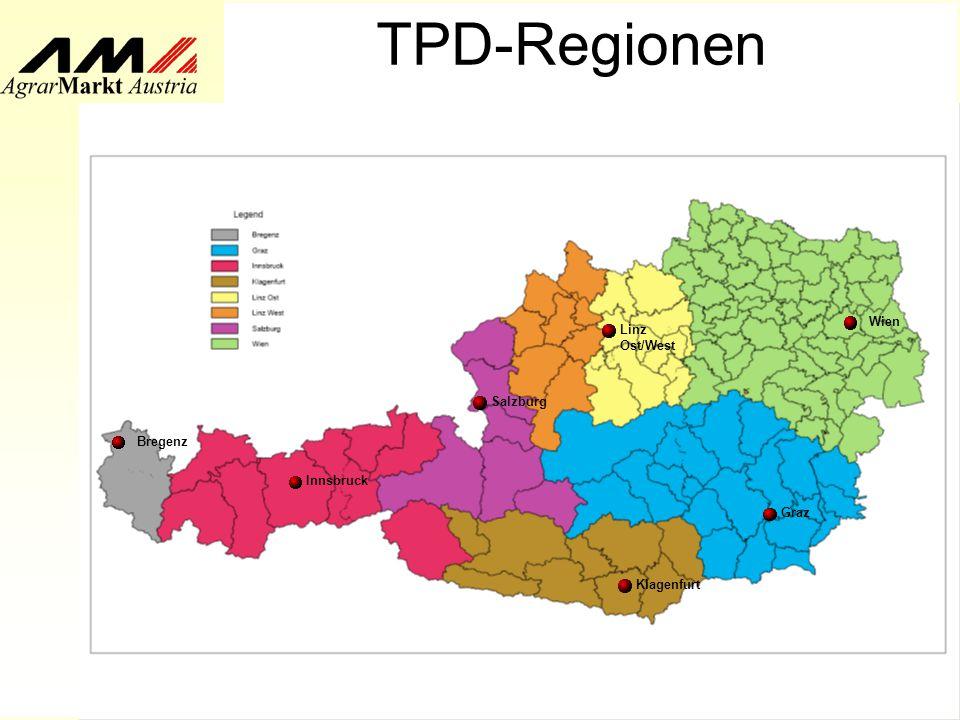 AMA/TPD/Fö Oktober 2007 TPD-Regionen Bregenz Klagenfurt Innsbruck Wien Linz Ost/West Graz Salzburg