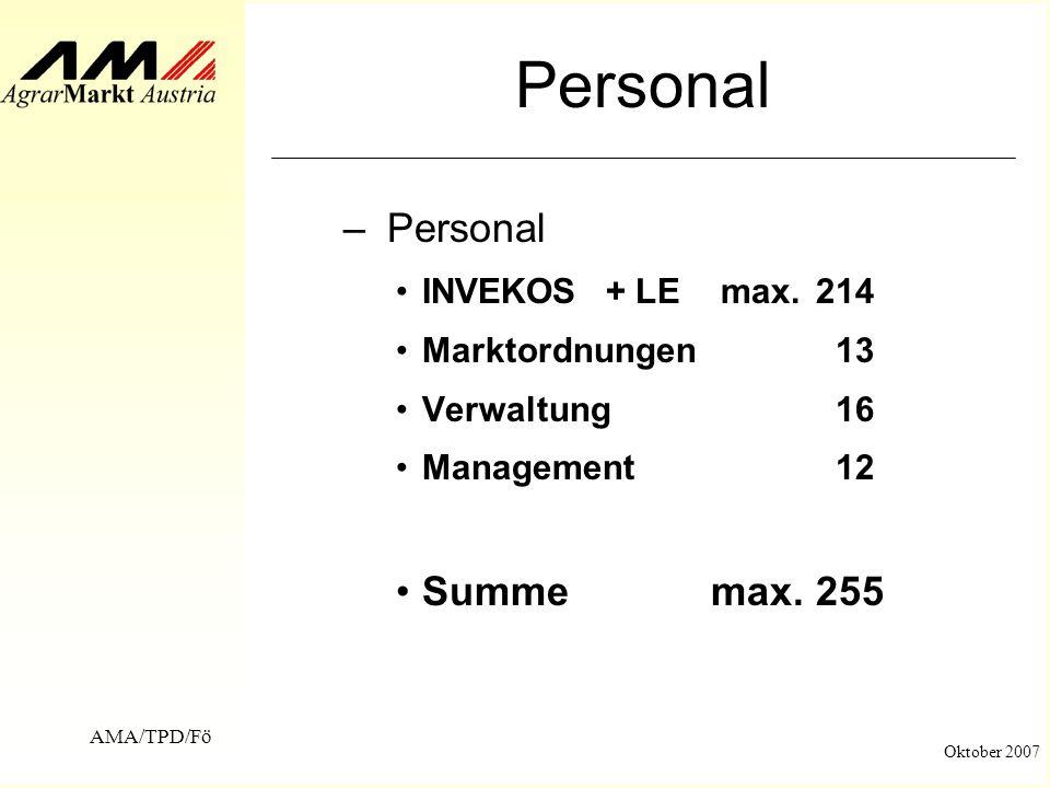 AMA/TPD/Fö Oktober 2007 Personal – Personal INVEKOS+ LE max. 214 Marktordnungen 13 Verwaltung 16 Management 12 Summemax.255