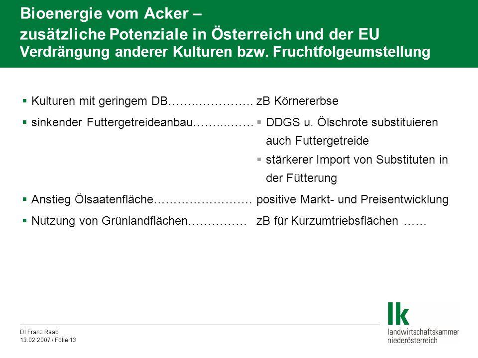 DI Franz Raab 13.02.2007 / Folie 13 Bioenergie vom Acker – zusätzliche Potenziale in Österreich und der EU Verdrängung anderer Kulturen bzw. Fruchtfol