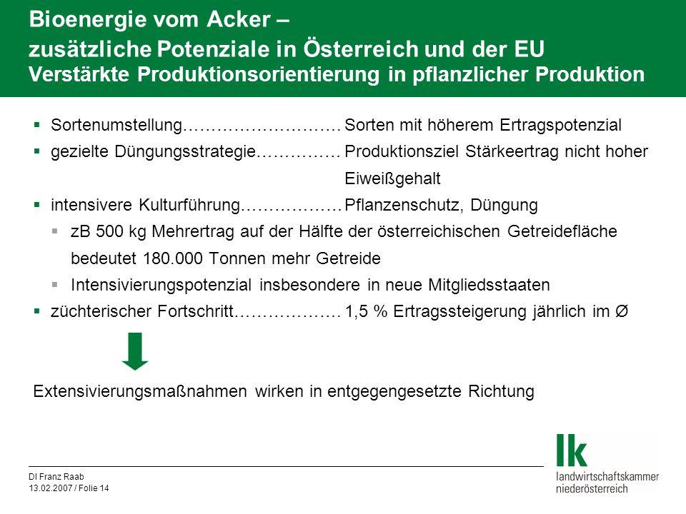 DI Franz Raab 13.02.2007 / Folie 14 Bioenergie vom Acker – zusätzliche Potenziale in Österreich und der EU Verstärkte Produktionsorientierung in pflan