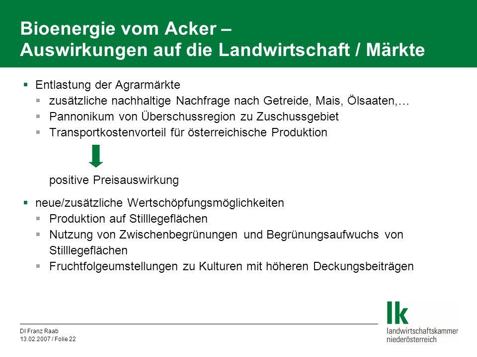 DI Franz Raab 13.02.2007 / Folie 22 Bioenergie vom Acker – Auswirkungen auf die Landwirtschaft / Märkte  Entlastung der Agrarmärkte  zusätzliche nac