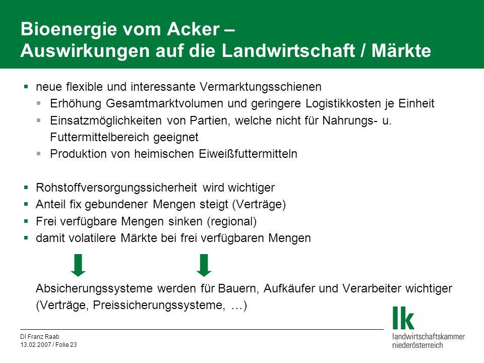 DI Franz Raab 13.02.2007 / Folie 23 Bioenergie vom Acker – Auswirkungen auf die Landwirtschaft / Märkte  neue flexible und interessante Vermarktungss