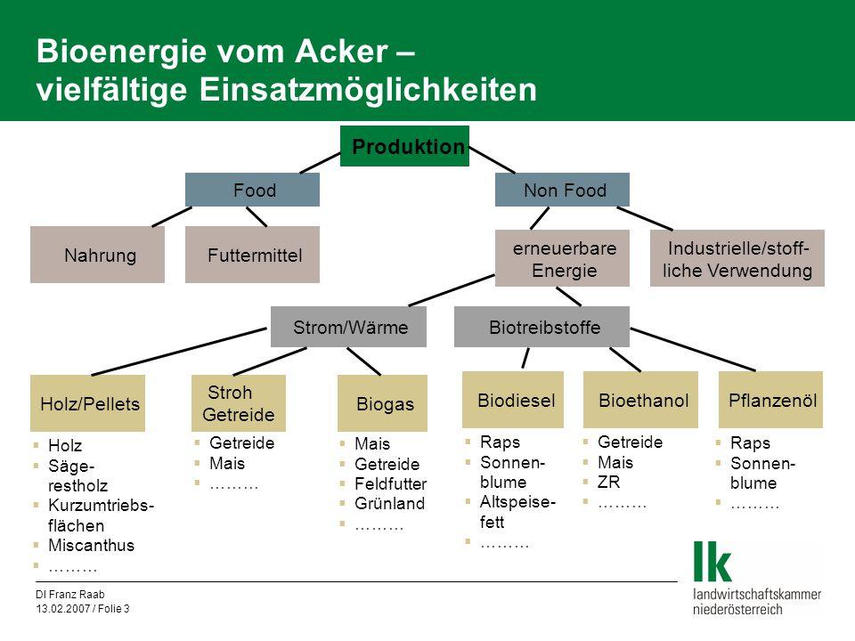 DI Franz Raab 13.02.2007 / Folie 14 Bioenergie vom Acker – zusätzliche Potenziale in Österreich und der EU Verstärkte Produktionsorientierung in pflanzlicher Produktion  Sortenumstellung……………………….Sorten mit höherem Ertragspotenzial  gezielte Düngungsstrategie……………Produktionsziel Stärkeertrag nicht hoher Eiweißgehalt  intensivere Kulturführung………………Pflanzenschutz, Düngung  zB 500 kg Mehrertrag auf der Hälfte der österreichischen Getreidefläche bedeutet 180.000 Tonnen mehr Getreide  Intensivierungspotenzial insbesondere in neue Mitgliedsstaaten  züchterischer Fortschritt……………….1,5 % Ertragssteigerung jährlich im Ø Extensivierungsmaßnahmen wirken in entgegengesetzte Richtung
