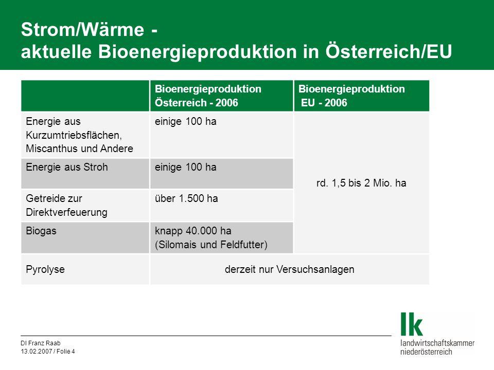 DI Franz Raab 13.02.2007 / Folie 4 Strom/Wärme - aktuelle Bioenergieproduktion in Österreich/EU Bioenergieproduktion Österreich - 2006 Bioenergieprodu
