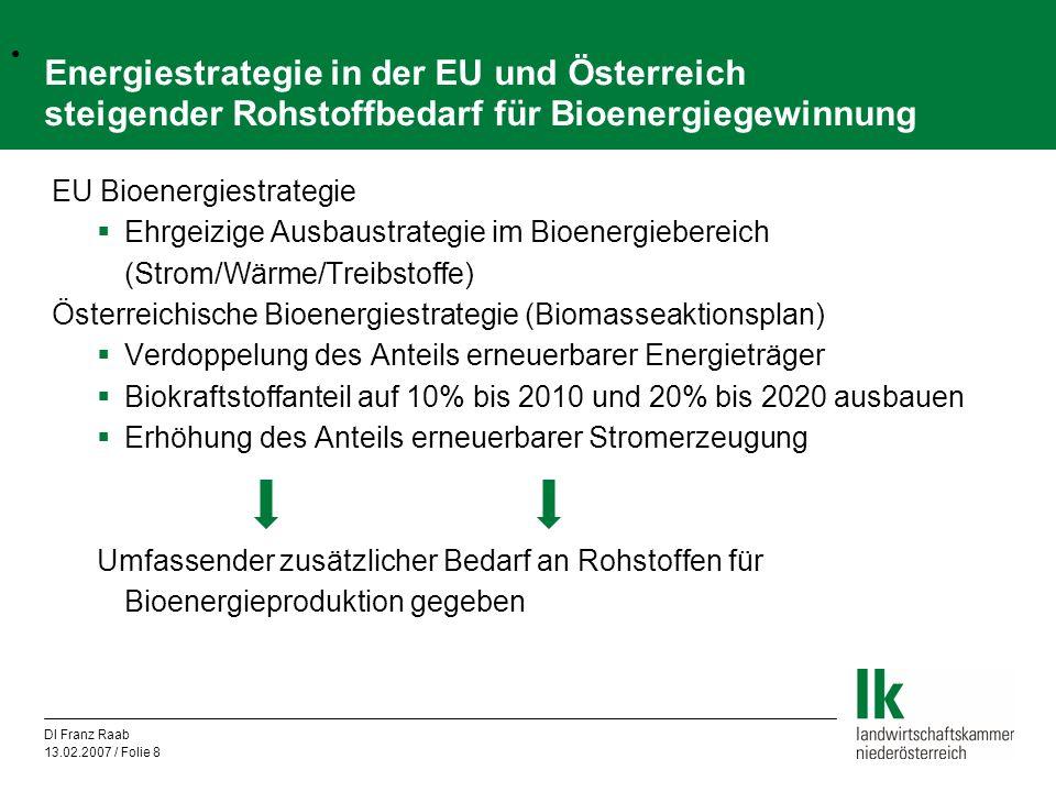 DI Franz Raab 13.02.2007 / Folie 9 Bioenergie vom Acker – zusätzliche Potenziale in Österreich und der EU derzeit exportierte Überschussmengen sinkender Futtergetreidebedarf (Substitution durch DDGS und Ölschrote) Züchterischer Fortschritt u.