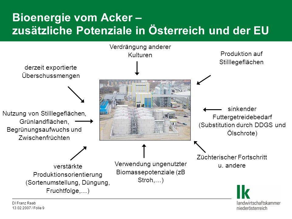 DI Franz Raab 13.02.2007 / Folie 9 Bioenergie vom Acker – zusätzliche Potenziale in Österreich und der EU derzeit exportierte Überschussmengen sinkend