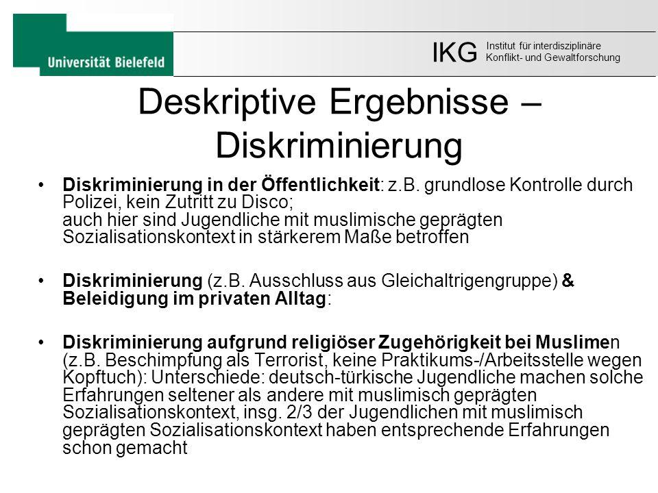 Deskriptive Ergebnisse – Diskriminierung Diskriminierung in der Öffentlichkeit: z.B. grundlose Kontrolle durch Polizei, kein Zutritt zu Disco; auch hi