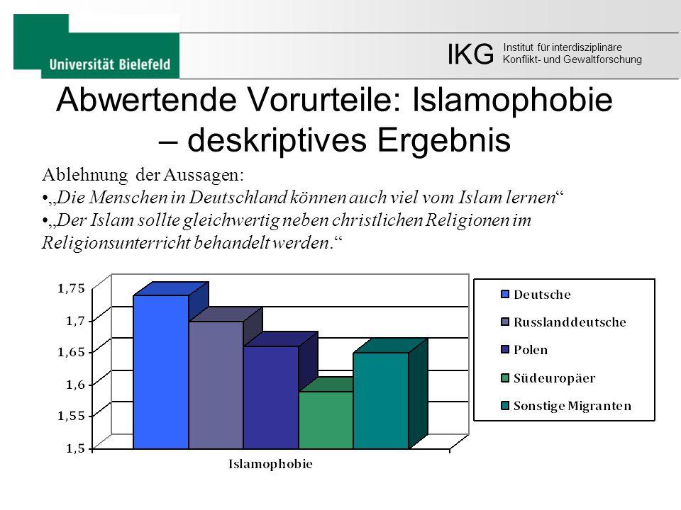 """Abwertende Vorurteile: Islamophobie – deskriptives Ergebnis Ablehnung der Aussagen: """"Die Menschen in Deutschland können auch viel vom Islam lernen"""" """"D"""