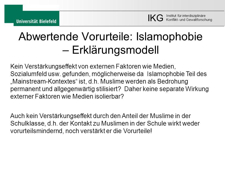 Abwertende Vorurteile: Islamophobie – Erklärungsmodell IKG Institut für interdisziplinäre Konflikt- und Gewaltforschung Kein Verstärkungseffekt von ex