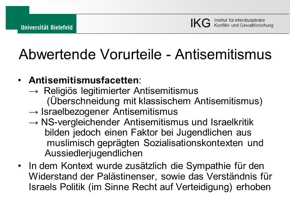 Abwertende Vorurteile - Antisemitismus Antisemitismusfacetten: → Religiös legitimierter Antisemitismus (Überschneidung mit klassischem Antisemitismus)
