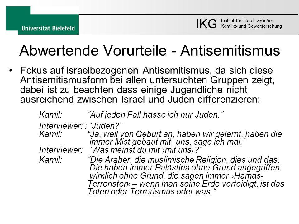 Abwertende Vorurteile - Antisemitismus Fokus auf israelbezogenen Antisemitismus, da sich diese Antisemitismusform bei allen untersuchten Gruppen zeigt