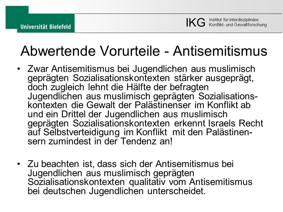 Abwertende Vorurteile - Antisemitismus Zwar Antisemitismus bei Jugendlichen aus muslimisch geprägten Sozialisationskontexten stärker ausgeprägt, doch