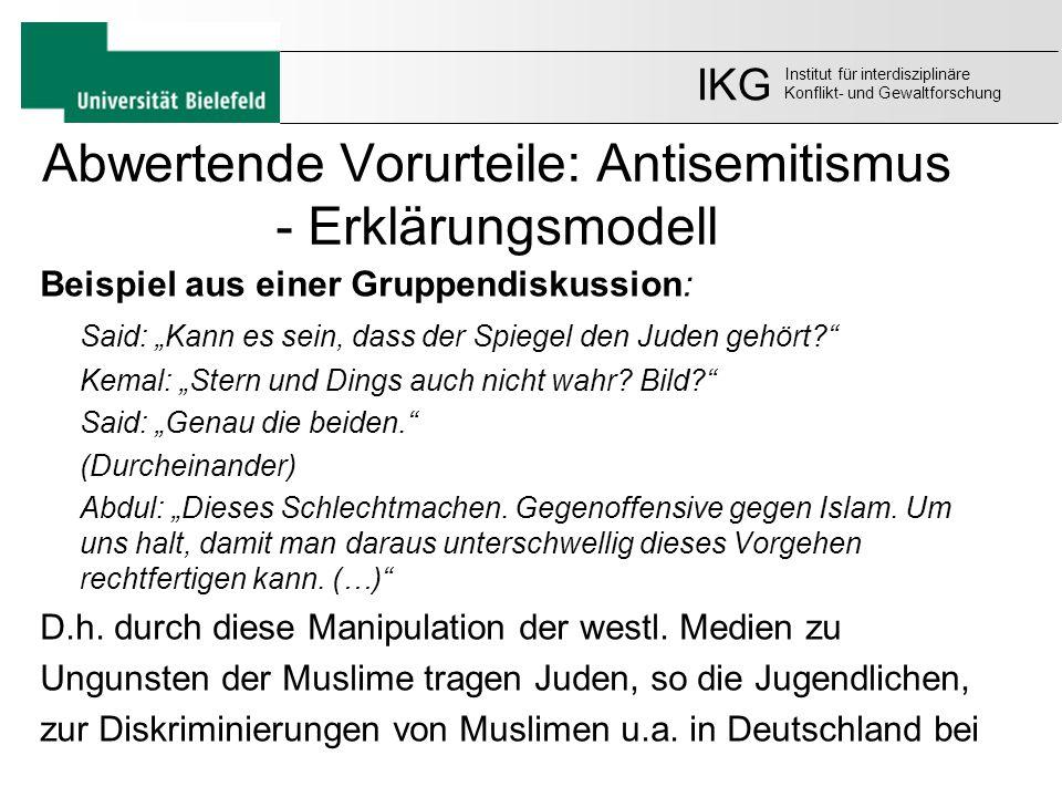 """Abwertende Vorurteile: Antisemitismus - Erklärungsmodell Beispiel aus einer Gruppendiskussion: Said: """"Kann es sein, dass der Spiegel den Juden gehört?"""